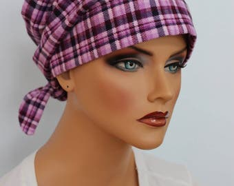 Gabrielle Flannel Head Scarf, A Women's Cancer Headwear, Chemo Scarf, Alopecia Hat, Head Wrap, Head Cover for Hair Loss. Purple Plaid