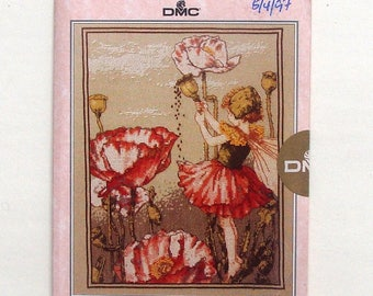 DMC The Shirley Poppy Fairy Cross Stitch Chart Ref # PC20 - by Cicely Mary Barker - Factory Sealed