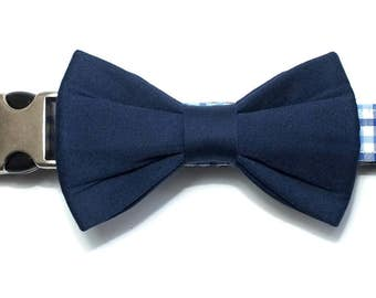Navy Sateen bow tie ONLY for dog/cat collars, pet bow tie, collar bow tie, wedding bow tie
