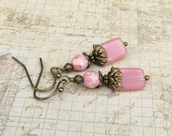 Pink Earrings, Light Pink Earrings, Victorian Earrings, Czech Glass Beads, Crystal Earrings, Antique Gold Earrings, Pink and Gold Earrings