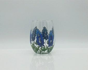 Texas Bluebonnets Hand Painted Stemless Wine Glass Blue Bonnets Green Flower Floral