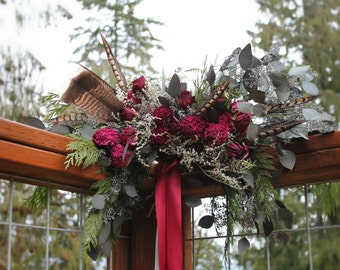 dried flower bouquet, red bridal bouquet, dried red flower bouquet, marsala bouquet, dark red bouquet, foraged bouquet, red bridal bouquet