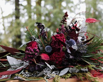 dried flower bouquet, blue and red bouquet, navy blue bouquet, marsala bouquet, thistle bouquet, dark red and navy bouquet, rustic bouquet