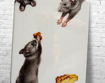 Porcelain Cheese board. Very cute mice stealing cheese. Hand painted by Lana Arkhi