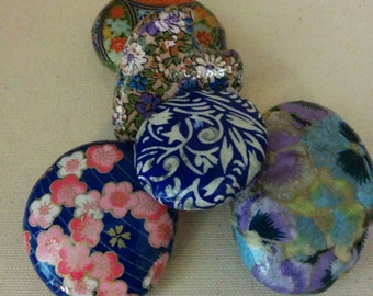 Blues, purples, pinks of spring:  paper and rock create artistry for MOM' S day, secretary bosses friends day give something unique, special