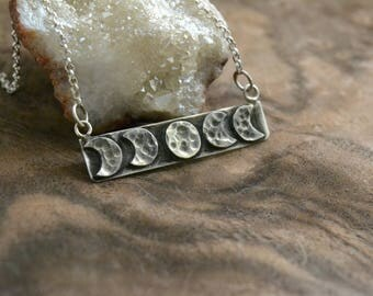moon phases bar necklace/moon phases sterling silver minimal necklace/dark style moon necklace/ vertical bar necklace