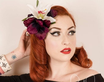 Rock Rockabilly Deep Purple white hair Flower clip headpiece