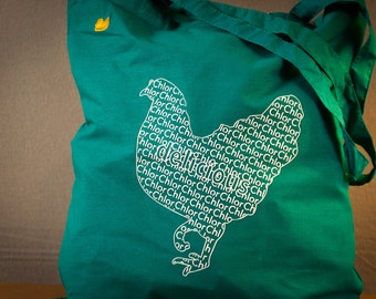 chlorinated Chicken Food cotton canvas tote shopping bag fun graphic tote with animal print Cool printed  - dark mint or in multiple colors