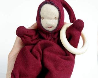 Waldorf doll, teething and cuddle doll, 7 inches, infant toy, gift for newborn, ragdoll, elf doll