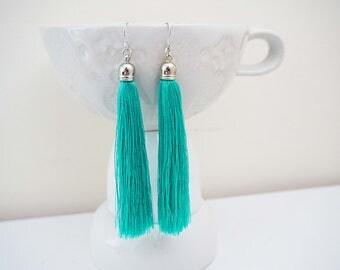 Minty Teal Blue and Silver Long Tassel Earrings