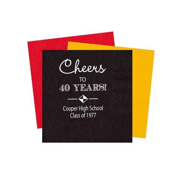 High school reunion napkins, class reunion napkins, personalized napkins, high school graduation party, class reunion party favor