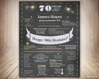 UK 70th Birthday Gift for Dad, 70th Birthday Poster UK Facts, Chalkboard 70th Birthday Sign,70 Years ago Born in 1947,Birthday Sign UK