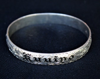 Vintage Sterling Silver 'KUUIPO' Sweetheart HAWAIIAN PLUMERIA Swirl Bracelet 30GR.