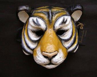 Tiger mask Lion mask Masquerade mask Animal mask Animal head mask Halloween mask Carnival mask Papier mache mask Tiger costume Tiger head