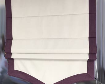 "Flat Linen Roman Shade ""White&Black Border"" with chain mechanism and scalloped bottom, linen roman shade, custom made"