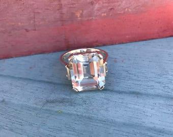 Size 7 Swarovski Sterling Silver Engagement Ring 5.7g