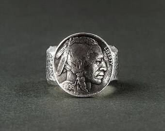 "Ring leader Indian ""Liberty"" / hammered ring and coin / Indian / USA / money"
