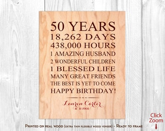 50th Birthday Gifts for Women, 50th Birthday Presents, 50 Year Birthday Gift for Wife, Personalized 50 Birthday Print, Mom Birthday Gifts