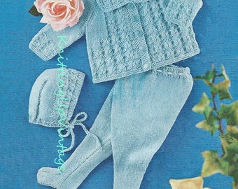 Baby Knitting Pattern pdf Pram Set Matinee Coat Leggings Bonnet  Double Knit