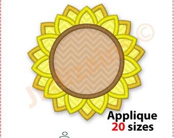 Sunflower Applique Design. Sunflower embroidery design. Flower applique design. Flower monogram embroidery design. Machine embroidery design