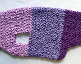 Ready to Ship: Doggy Jumper - Purple & Pink, Handmade Wool Dog Jacket