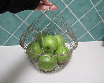Vintage Wire Folding Basket - Eggs - Vegetables - Farmhouse - Industrial