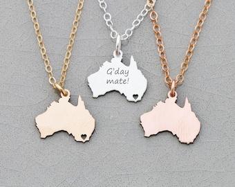 SALE • Australia Necklace • Charm Australia Gift • Outback Australia Pendant • Wanderlust Gift • Aussie • Oz • Moving Away Gift • Engraved