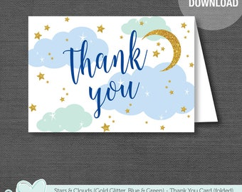 Stars and Clouds Thank You Card Printable, Blue Green and Gold Glitter, Instant Download, Baby Shower Thank You Card, Moon, Boy, 24S