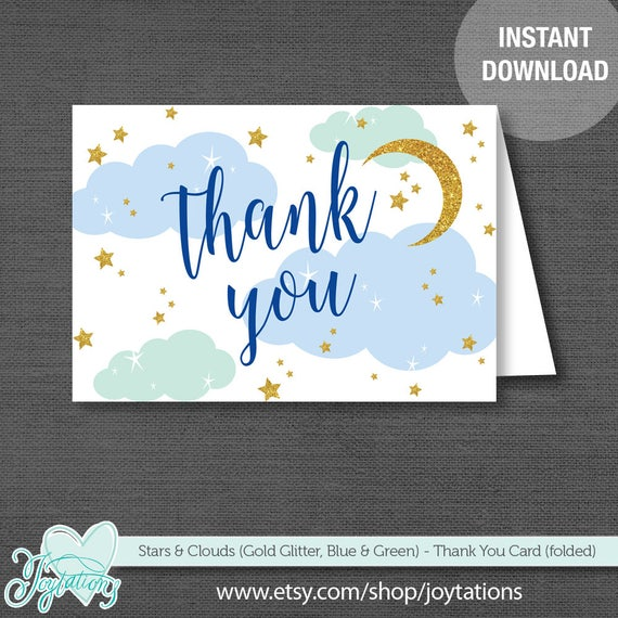stars and clouds thank you card printable blue green and gold