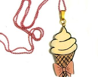 Ice Cream - Banana  Mocha, Food Acrylic necklace, Cute, Summer Fun, Geeky, kitsch, Long Statement Kawaii Necklace
