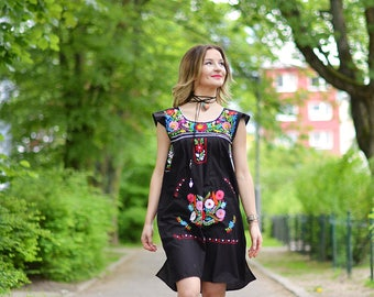 SALE! S Mexican hand embroidered dress, BLACK Mexican dress, Puebla dress, tribal dress, boho dress, ethnic dress