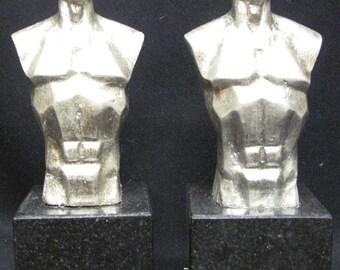 Pair of Miniature Bronze Male Torsos Sculpture on Marble Base