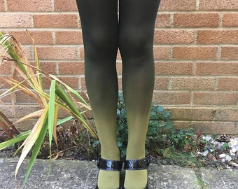 SALE Kendall Woodland Fern Green Ombre Dip Dye Tights Lingerie - More Colours