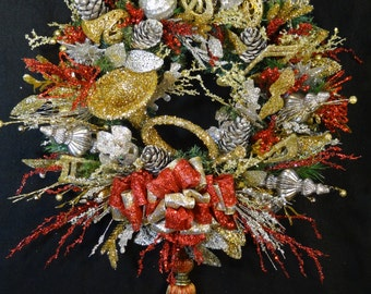 Luxury Christmas Wreath,Elegant Christmas Wreath,Musical Instrument Wreath,Musical Christmas wreath,Musical Instrument Ornaments,French Horn