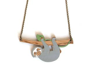 Sloth Necklace - Sloth Wood Necklace - Sloth Jewelry