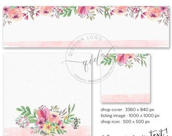 Premade Etsy Shop Set, DIY Shop Cover, Etsy Banner Set, Floral Cover Design, Add your own text, Instant Download, Blank Etsy Banner