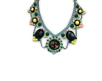 SHERBERT hand painted rhinestone super statement necklace