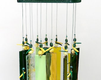 Stained Glass Windchime - Forest Green - Pale Green, Yellow, Housewarming - Sunroom decor, GN1012