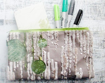 Textured Zipper Pouch, Green Silver Grey, One Of A Kind, Clutch, Device Case, Lined Accessory Pouch, Cosmetic Bag, Artist Pouch, Art To Go