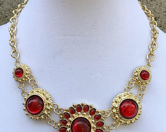 Gold and Red Cabochon Bib Necklace / Red Cabochon Necklace .