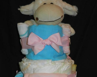Pink and Teal Large Tiered Diaper Cake