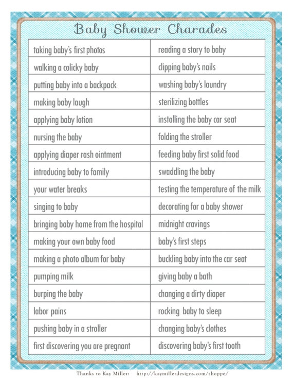 charades baby shower game in a vintage style with blue accents diy