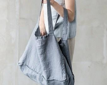 Large linen tote bag / linen beach bag / linen shopping bag in
