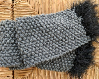 Hand Knit Grey Scarf with Fringe/ Handknit Scarf / Gray Scarf