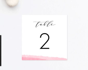 Watercolor Wedding Table Numbers, Pink Table Numbers, Head Table Card, Reserved Card, Ombre Wedding Table Cards, Pink Wedding Printable