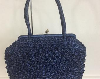 Vintage Raffia Handbag Tote Purse Navy Blue Boho Chic Bohemian Holiday Wedding Occasion c 1960-70s