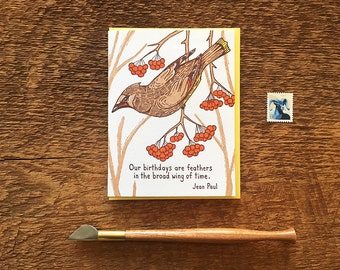 Bird Birthday Quote, Birthday Feathers, Waxwing Card, Letterpress Birthday Card, Letterpress Folded Card, Blank Inside