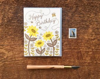 Happy Birthday, Bees & Blooms, Letterpress Folded Card, Blank Inside