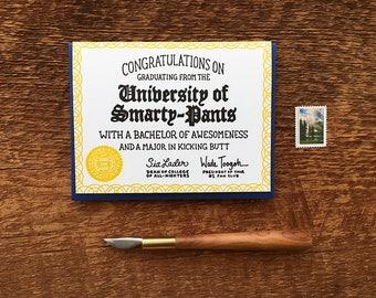 Congratulations Smarty-Pants, Humor Grad Card, Graduation Card, Letterpress Note Card, Blank Inside