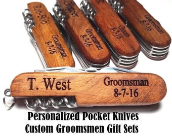 Personalized Groomsmen Gift Pocket Knife or Corkscrew or Tie Clip Tie Bar Engraved Custom Wood Wedding Groomsman Gifts Best Man Usher